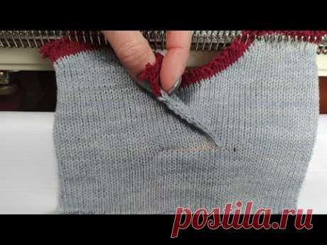 Горловина с нахлёстом при вязании  снизу - YouTube