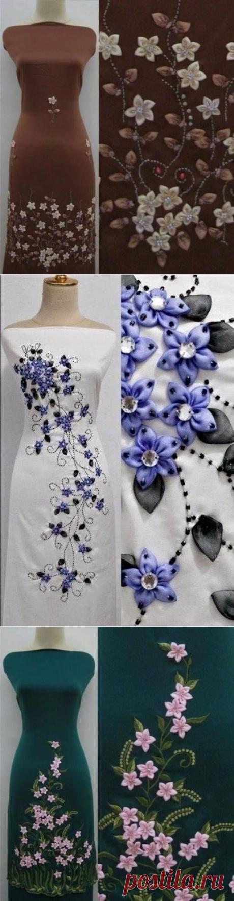 Декорирование платья лентами. Красота!