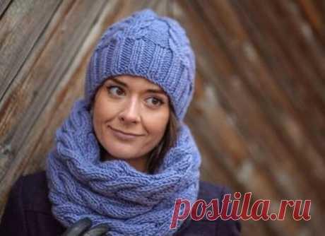 Симпатичные и практичные шапка и снуд (Вязание спицами)
