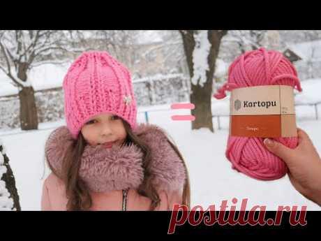 Шапка из толстой пряжи спицами 💋 Hat with thick yarn knitting pattern