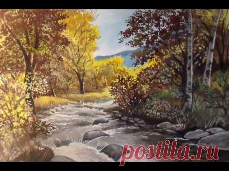 Как нарисовать осенний пейзаж гуашью. Как рисовать пейзажи поэтапно