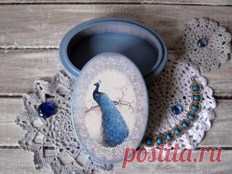 Шкатулка декупаж, овальная. Райская птица – купить в интернет-магазине на Ярмарке Мастеров с доставкой - G19A9RU | Москва