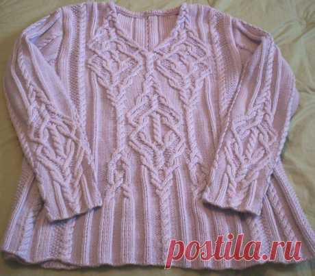 Вязание спицами пуловера с косами Intricate с V-образной горловиной