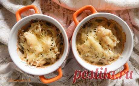La colación con las setas y la gallina | la cocina Rusa