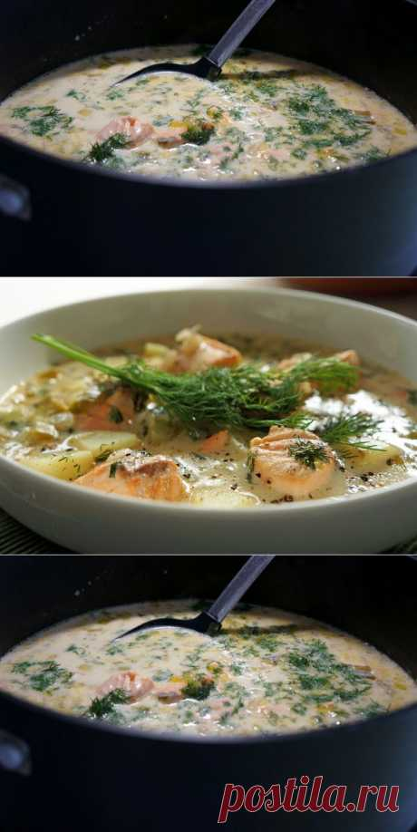 Финский суп с лососем и картофелем.