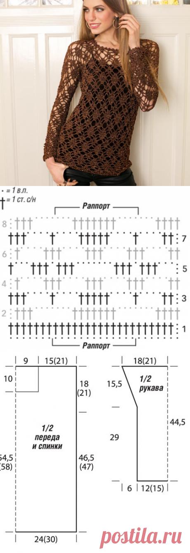 Джемпер с ажурными ромбами - схема вязания крючком. Вяжем Джемперы на Verena.ru