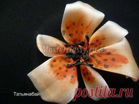 Вышивка лентами лилии. Мастер-класс с пошаговыми фото
