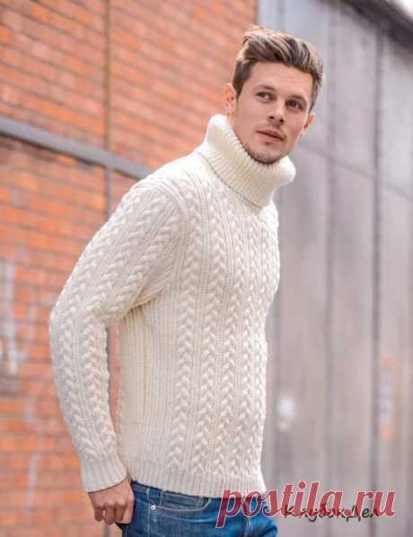 Вязание для мужчин - пуловер с высоким воротником и фантазийными узорами, схемы