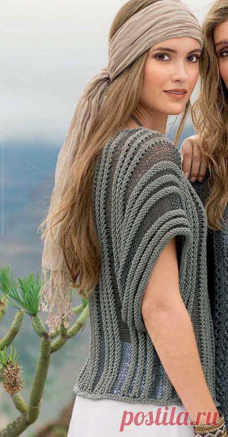 Пуловер с поперек связанными полосами
