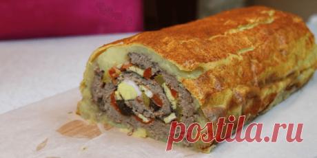 Мясной рулет в шубе из картофеля - Пошаговый рецепт с фото
