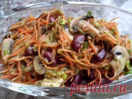 Сделайте этот салат с фасолью и грибами и приготовьтесь принимать комплименты!