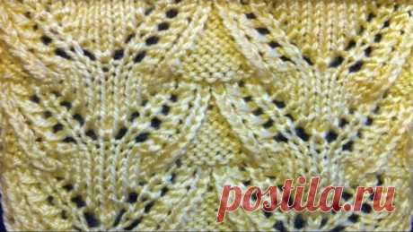 Ажурный узор спицами. Видео урок вязания на спицах. Openwork pattern Video tutorial knitting