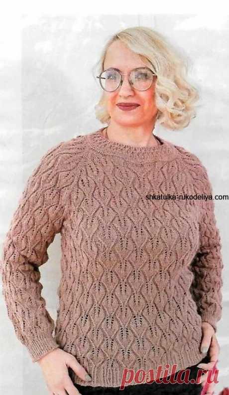 Пуловер реглан оттенка кофе с молоком