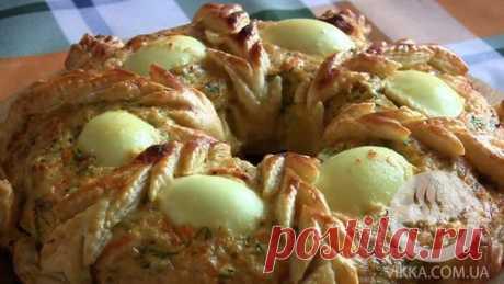 Пирог из куриного фарша «Рождественское кольцо»