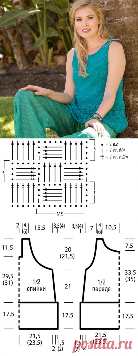 Топ со связанным крючком бордюром - схема вязания спицами. Вяжем Топы на Verena.ru