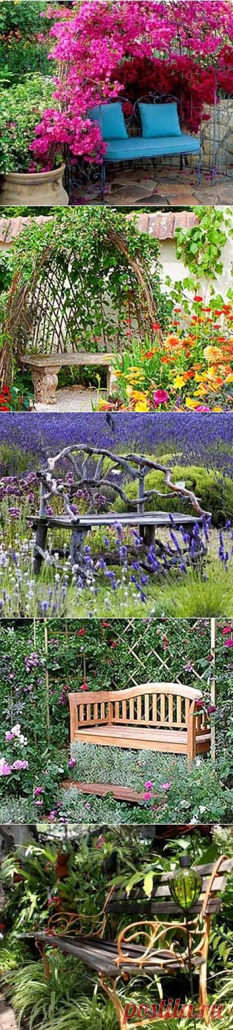12 идей для дачи: скамейки среди цветов