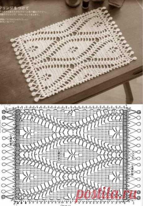 Прямоугольная салфетка крючком. Схема. / knittingideas.ru