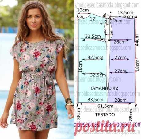 Простая выкройка красивого летнего платья Длину платья при желании можно увеличить.