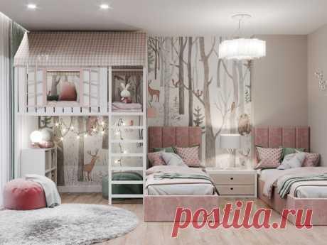 Проект детской для двух девочек 21 кв м Дизайнеры: Шестова Юлия и Маргарита Ведяшкина