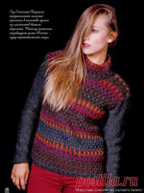 Спицы.Пестрые пуловер и безрукавка
