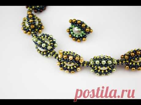 Ожерелье  из оплетёных бусин. (Часть 1/2)