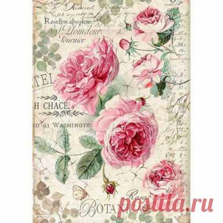 """Бумага рисовая для декупажа Stamperia DFSA4358 """"Старинные английские розы"""", А4 купить недорого"""