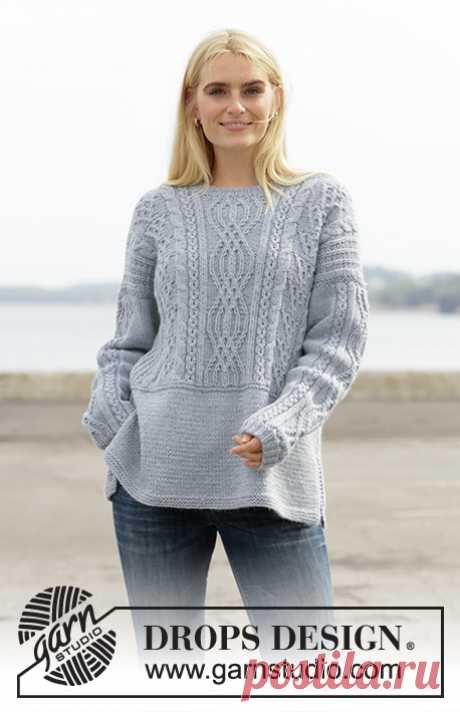 Пуловер Mists of Time от Drops Design спицами