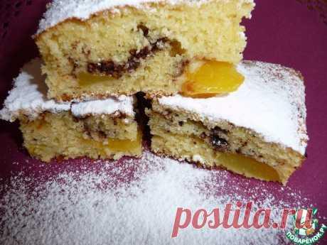 Сладкий пирог с персиками и шоколадом Кулинарный рецепт