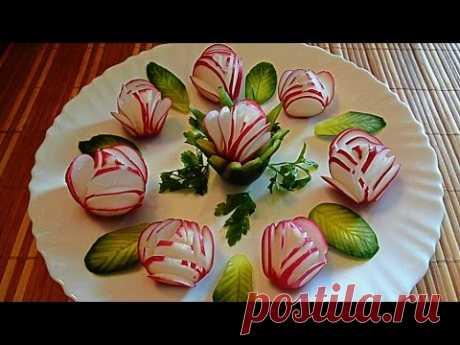 ¡Adornamientos del rabanillo y el pepino! ¡Decoration of radish and cucumber!