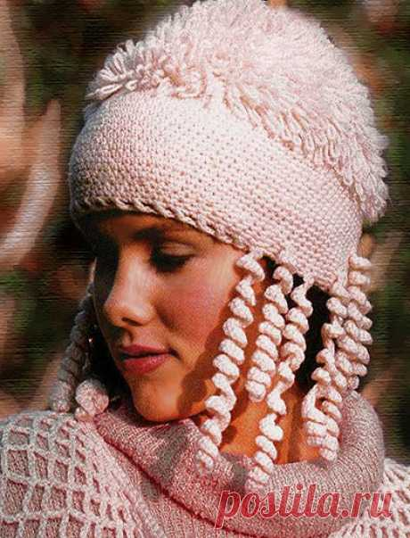Knitted winter cap with imitation of fur | ELENA VYAZALOCHKA — Knitting by Spokes and the Hook | the Best Schemes and Models is free