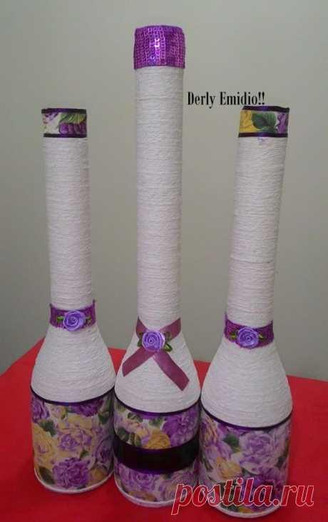 A pronta Entrega!!! Garrafas decoradas alongadas com tecidos e cordão!!!