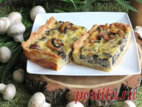 Киш с грибами — рецепт с фото пошагово