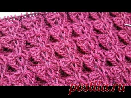 Ажурная резинка Бабочки/ Оригинальный узор спицами для шапок, шалей и свитеров