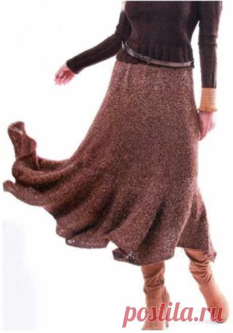 Юбка спицами Размер юбки: 44-46 Вам потребуется  - 700-750 г фасонной пряжи «Барба» (хлопок, полиамид, шерсть, 420 м/100 г) коричневого цвета.  - Спицы № 4,5 на леске.  - Широкая резинка для пояса длиной 75 см.  Нравится публикация?