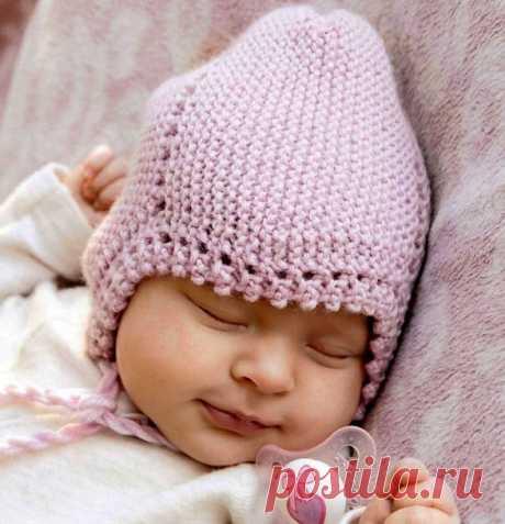 Вязаная шапочка для новорожденного спицами | Все-Вязание