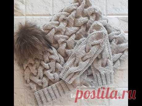 El juego caliente, invernal: el gorro y snud con la cinta de las trenzas. La parte 1. El gorro con doble резинкой.Hat y snood.