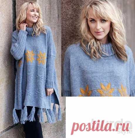 Пончо со звездами - схема вязания спицами. Вяжем Пончо на Verena.ru
