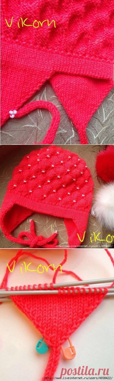 МК по вязанию двойных (полых) ушек к детской шапке.