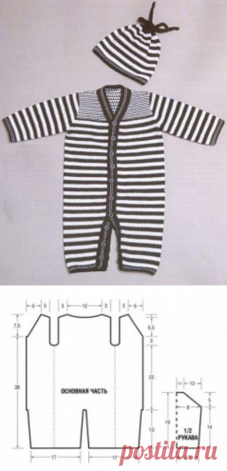 Вязаный полосатый комбинезон и шапочка | Вязание спицами и крючком – Азбука вязания