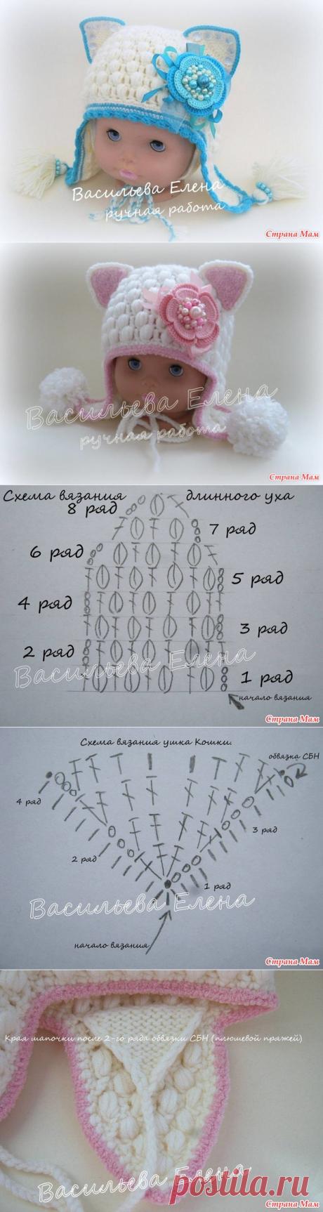 """La Clase maestra de la labor de punto del gorrito """"Кошка"""" por el gancho. La parte 2. La temporada el invierno. - la labor de punto - el País de las Mamás"""