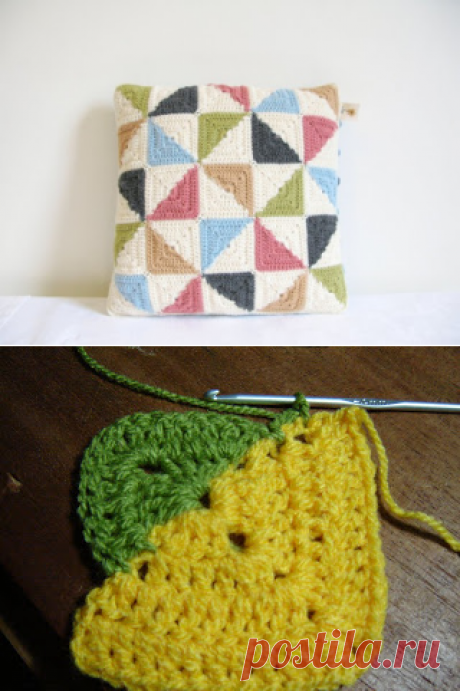 Cover on a pillow from two-color squares. Hook. Schemes. \/ La Crochetnauta