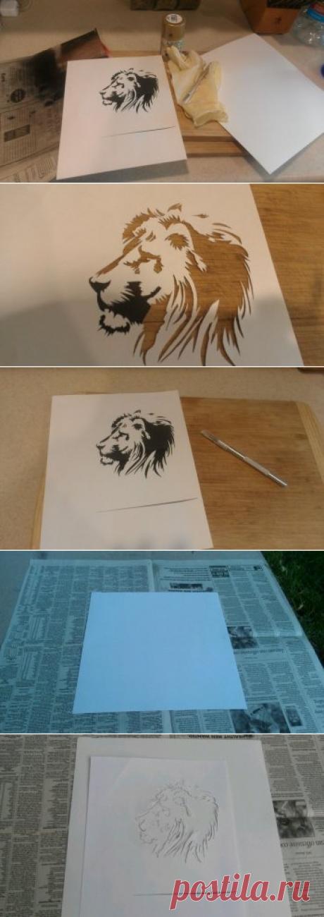 Учимся делать рисунки с помощью трафарета и спрея — Своими руками