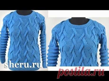Супер стильный свитер с драпировкой спицами Урок 215
