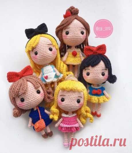 Принцессы Дисней амигуруми. Схемы и описания для вязания игрушек крючком! Бесплатный мастер-класс по вязанию маленьких кукол  в образе принцесс знаменитых мультфильмов Дисней. Автор схемы вязаных игрушек: jib_soya. Изменяя п…