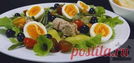 Рецепт салата «Нисуаз» с тунцом класссический пошаговый с фото.