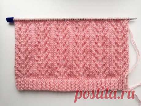 Красивый и простой ажурный узор спицами для вязания джемпера, кардигана, свитера
