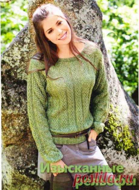 Меланжевый пуловер в узорчатую резинку