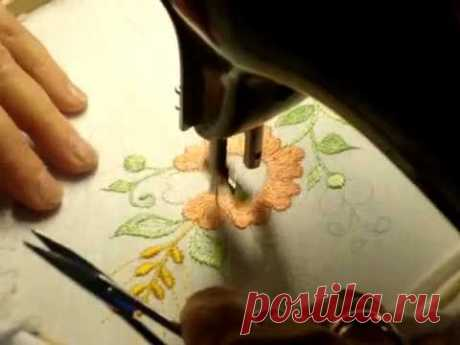 Machine embroidery. Flower embroidery. - YouTube