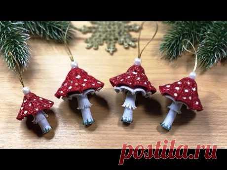СУПЕР ПРОСТО И БЫСТРО грибочки и ёлочки, новогодние игрушки из фоамирана 🎄 DIY christmas