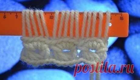 Knitting on a ruler a hook